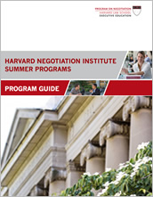 New! Harvard Negotiation Institute Summer Programs Guide